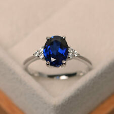 2.15 Ct Blue Sapphire 14K White Gold Natural Diamond Wedding Ring Oval Size 6