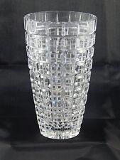 Vintage Lausitzer Glas Lead Crystal Hand Cut Vase Cube Pattern Diamond Cut Lines