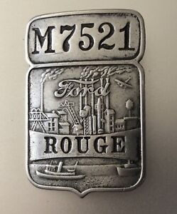 "Vintage Ford Motor CO EMPLOYEE BADGE: ROUGE (MI) Automotive ""M"" Foundry Factory"