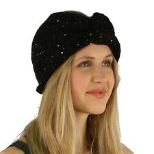 Winter Ribbow Bow Sequins Sparkle Shimmer Headwrap Wide Headband Snow Ski Black