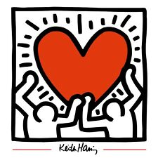 Keith Haring HOLDING HEART 12x12 Giclee Pop Art Giclee Print **SALE