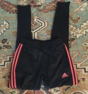 Adidas Womens Black W/Pink Sport Pants Zip Ankles Size XS