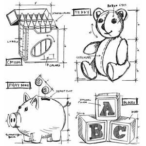 Tim Holtz Children Stamps, Teddy Bear, Crayons, Blocks, Piggy Bank, Childhood