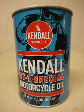 Kendall GT-1 Special Motorcycle Oil Can Qt Full & Unopened 4 Cycle SAE 10W-20W30