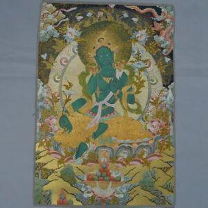 Thangka Painting Mural Silk Satin Dragon Green Tara Guan Yin Tibet Buddhism