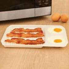 Microwave 2-in-1 Bacon Egg Cooker Quick Breakfast Ovenware Baking Tray Plate #HN