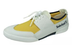 Men's Timberland Shoes Trainers Loafers White Leather Yellow UK 9.5 EU 44