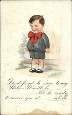 Twelvetrees - Little Boy Party Invitation c1910 Postcard