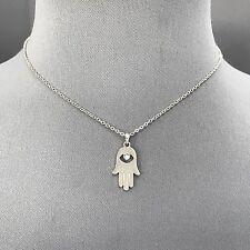 Bohemian Style Silver Finish Rhinestone Hamsa Hand Pendant Dainty Necklace