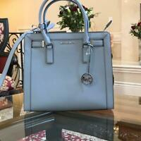 NWT Michael Kors MD DILLON TOP ZIP Satchel Crossbody Leather Bag Black/Pale Blue