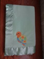 Kid Kraft Baby Blanket ~ Turtle green satin trim soft EUC