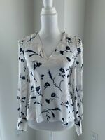 Joie White Blue & Peach Silk Floral Long Sleeve V Neck Blouse Top SZ XS