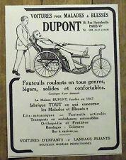 PUBLICITE VOITURE POUR MALADES DUPONT FAUTEUIL ROULANT  advert 1924