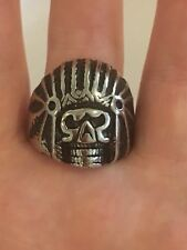 Stainless Steel Scull Ring Size 12 1/2 To 13 Mens Native Jewelry