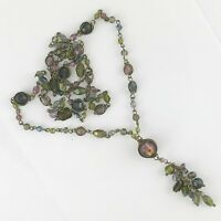 VINTAGE COSTUME RUSTIC GOLD TONE AND GLASS BEAD NECKLACE  APPROX 78CM