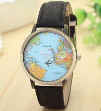 World Map Travel Wrist Watch Analog Leather Strap Steel Back Vintaege Black