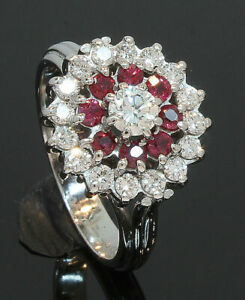 18 Carat White Gold 3 Tier Ruby & Diamond Cluster Ring 0.81ct Size O (10.10.004)