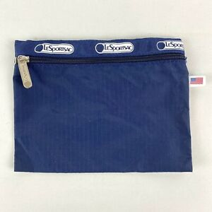 LeSportSac Zip Pouch Cosmetic Makeup Case Travel Bag Navy Blue Made in USA