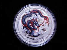 2012 1 oz Silver Australia Lunar Year of the Dragon - Black Red Colorized