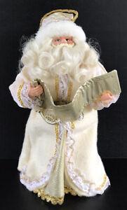 "Vintage Christmas Tree Topper Santa Claus Gold Ivory  12"" Santa Figure"