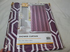 "NEW ID Intelligent Design VIVA Fabric Shower Curtain 72""x72""~ Purple and White"