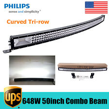 """Curved 50"""" inch 648W TRI-ROW LED Light Slim Bar COMBO Offroad Toyota Truck TOP"""