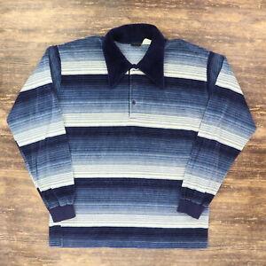 "VTG 70s 80s Studio One Campus Men XL 47"" L/S Terry Cloth Polo Shirt Blue Stripe"