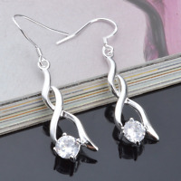 Fashion Women 925 Silver Plated Rhinestone Crystal Hook Earrings Wedding Jewelry