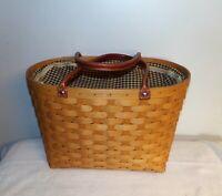 Longaberger Large Boardwalk Basket Khaki Check Liner Protector