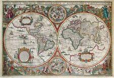"""Vintage Old World Map Nova Totius terrarum Obis CANVAS PRINT 24""""X18"""" Poster"""