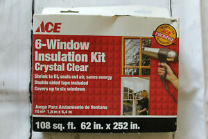 """Indoor Window Insulation Shrink Flim Kit 62"""" x 252"""" Clear Sealed Our Air ACE New"""