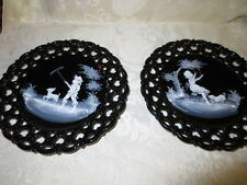 Westmoreland Hand painted Mary Gregory Black Plates with Children