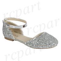 New girl's kids glitter formal dress wedding shoes Silver buckle closure wedding