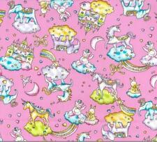 Unicorn Castle Fairytale Fantasy Elephants cotton 100% poplin Pink