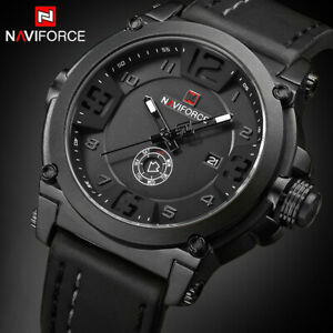 NAVIFORCE Tactical Watch Relojes Para Hombre US Army Analog Quartz Leather Band