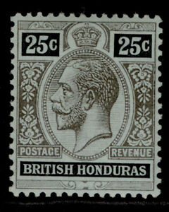 BRITISH HONDURAS GV SG106a, 25c black-blue/green, olive back, LH MINT.
