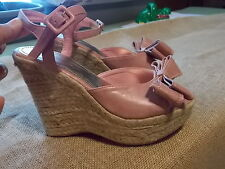 Pink Summer Wedge Sandal Heels LAT Babydoll Ankle Straps Womens Shoes Size 6