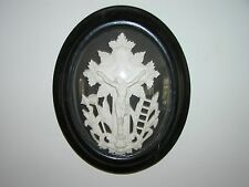 ANTIQUE FRENCH SPIRITUAL IMAGE IN A PICTURE FRAME WITH CONVEX GLASS.