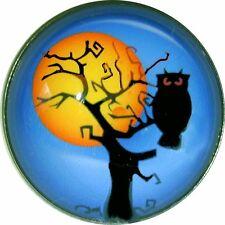 "Halloween Crystal Dome Button 1/"" Jack O Lantern HW 27 FREE US SHIPPING"