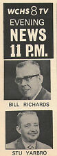 1969 tv ad ~ BILL RICHARDS/STU YARBRO/NEWS on WCHS in CHARLESTON,WEST VIRGINIA