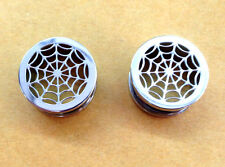 "PAIR of 9/16"" INCH (14MM) SPIDER WEB FLESH TUNNELS EARLET TUNNEL PLUG GAUGES"