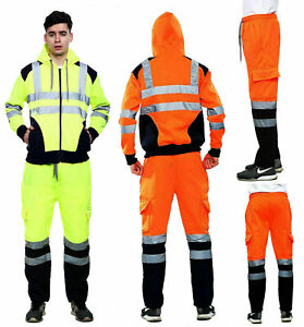 Men's Hi Vis Visibility Two Tone Jacket Safety Work Wear Trouser Hoodie Top
