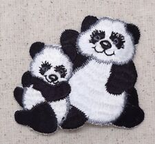 Panda Bear Waving Family/Cub - Animals/Zoo - Iron on Applique/Embroidered Patch