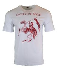 NEW MCQ RATTLE OF DOOM FEAR NOTHING T-SHIRT WHITE & RED ALEXANDER MCQUEEN RARE