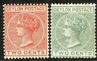 Ceylon 1883-98 pale-brown 2c dull-green 2c crown CA perf 14 mint SG146/147