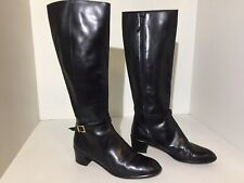 Salvatore Ferragamo Tall Riding Boots Black Leather Side Zip Heel Women's 6.5 B