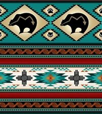 Tucson Southwest Aztec Indian Bear Stripe Turquoise Cotton Fabric by the Yard