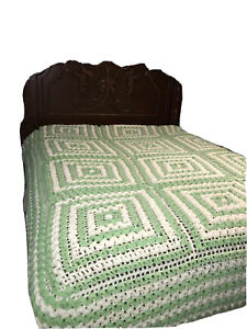 Vintage Green Off White Geometric Square Afghan Bedspread QUEEN Boho Chic
