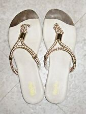 MOSSIMO Braided in Snakeskin Design Slides w/ Gold Plated Toe Size 7