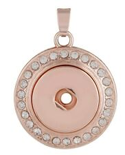 Rose Gold Round Rhinestone Pendant For 18mm to 20mm Snap Charm Ginger Snaps